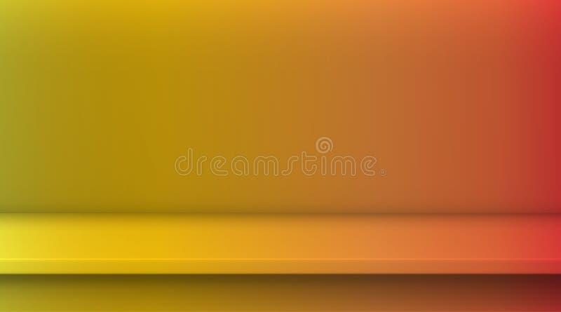 Таблица вектора сетки градиента Предпосылка пустой яркой желтой красной таблицы цвета градиента, комнаты студии рекламирует для в бесплатная иллюстрация