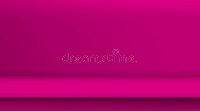 Таблица вектора сетки градиента Предпосылка пустой яркой розовой таблицы цвета, комнаты студии рекламирует для ваших продуктов де иллюстрация вектора