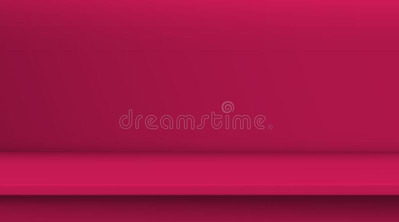 Таблица вектора сетки градиента Предпосылка пустой яркой таблицы красного цвета, комнаты студии рекламирует для ваших продуктов д иллюстрация штока