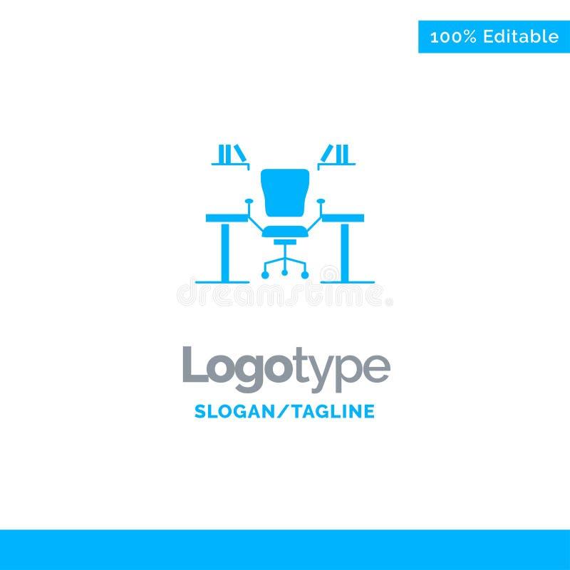 Таблица, дело, стул, компьютер, стол, офис, шаблон логотипа рабочего места голубой твердый r иллюстрация штока