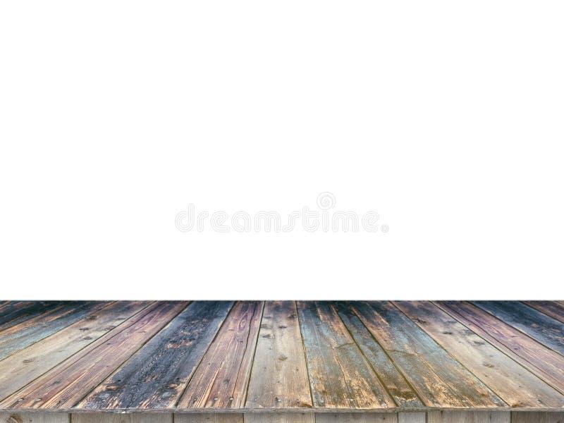 Таблица деревянной доски пустая перед белой предпосылкой Его можно использовать для дисплея или монтажа ваши продукты Глумитесь в стоковое изображение