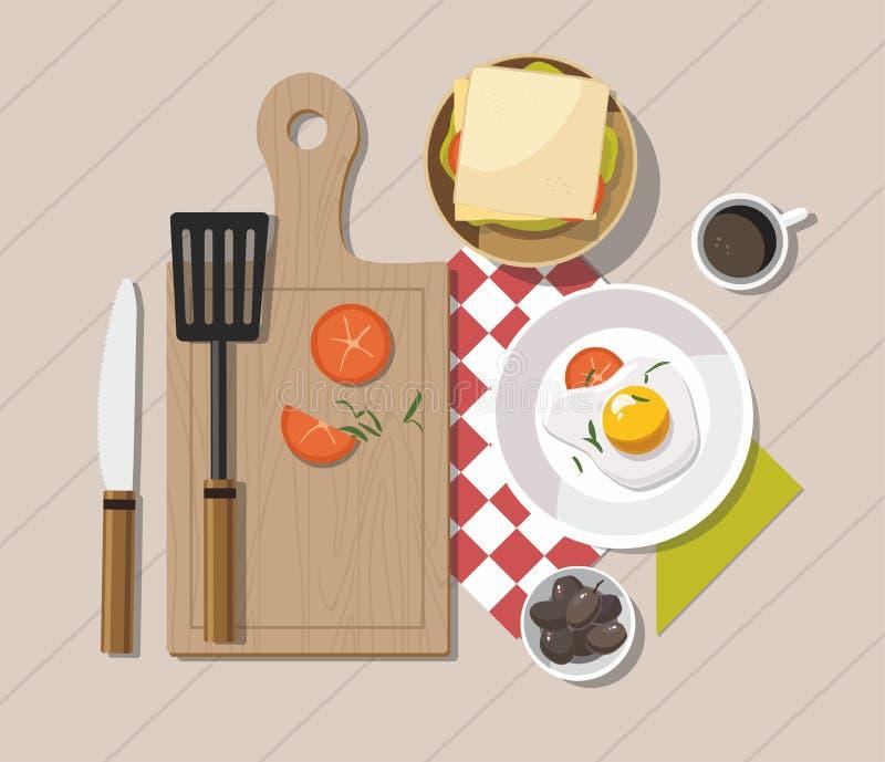 Таблица завтрака с здоровыми вкусными ингридиентами Кофе, здравица, миндалины, на белой деревянной предпосылке иллюстрация вектора