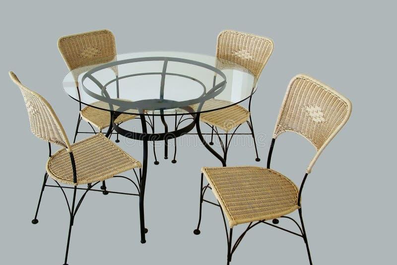 Download таблица изолированная стулами Стоковое Изображение - изображение насчитывающей обед, стекло: 79805