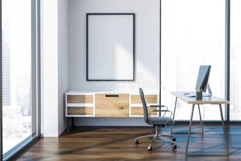 Таблица компьютера офиса менеджера внутренняя, знамя иллюстрация вектора