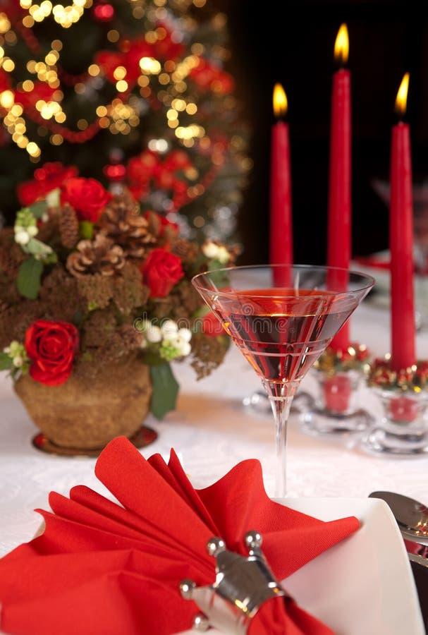 таблица красного цвета рождества 2 стоковое фото rf