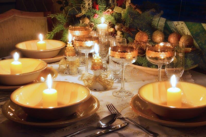 таблица настроения обеда рождества стоковое фото rf