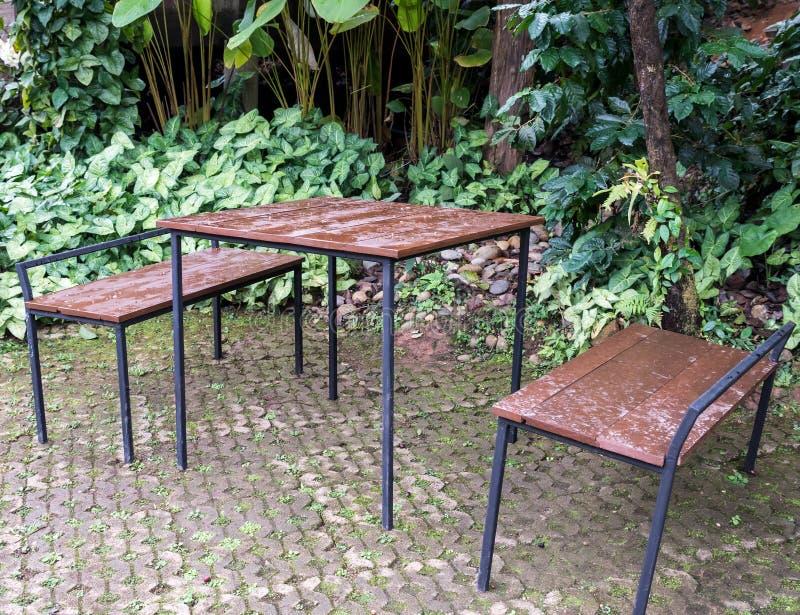 Таблица рамки металла и набор стула в саде стоковое изображение rf