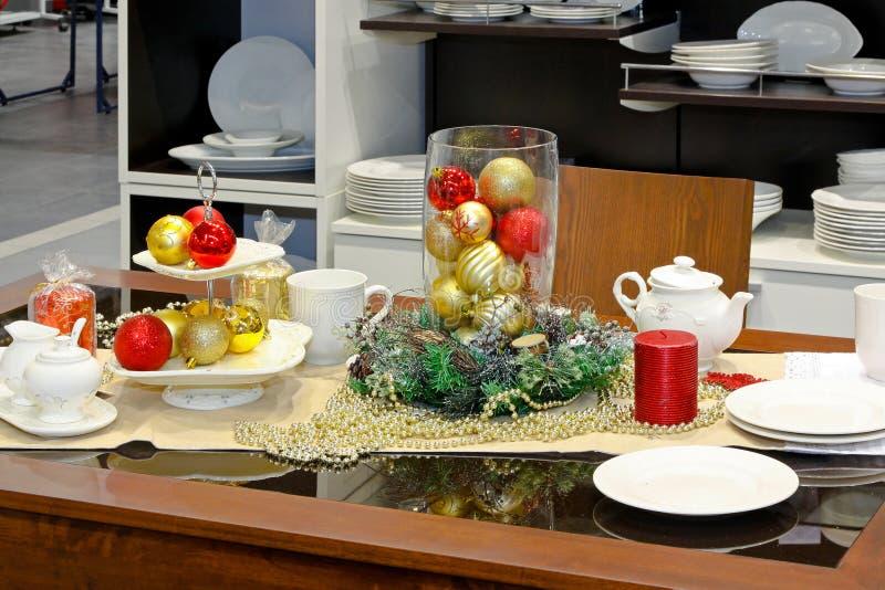 таблица рождества обедая стоковая фотография rf