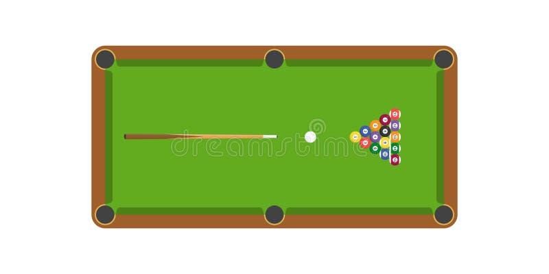 Таблица снукера или билльярда и ручка и билльярд сигнала шарик, плоско иллюстрация вектора