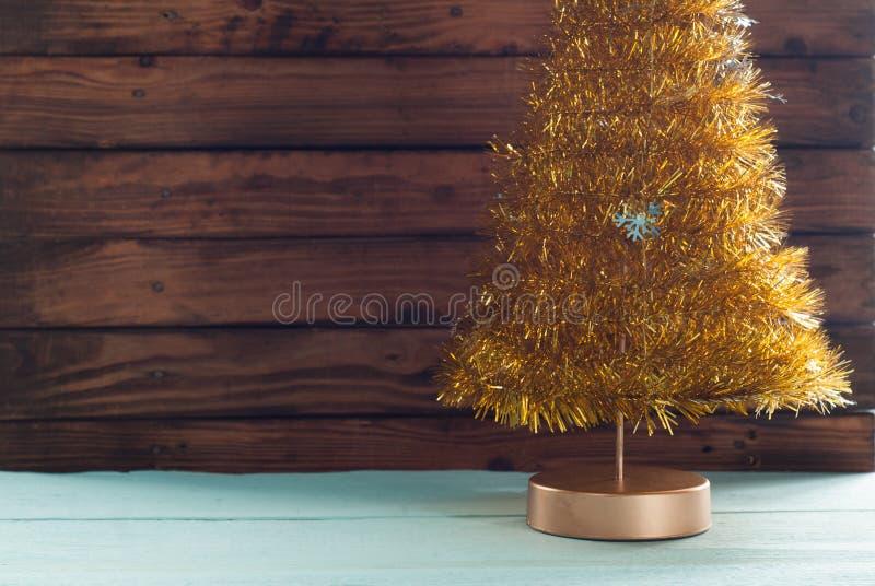 Таблица сусали золота дерева древесины и xmas, стоковая фотография rf