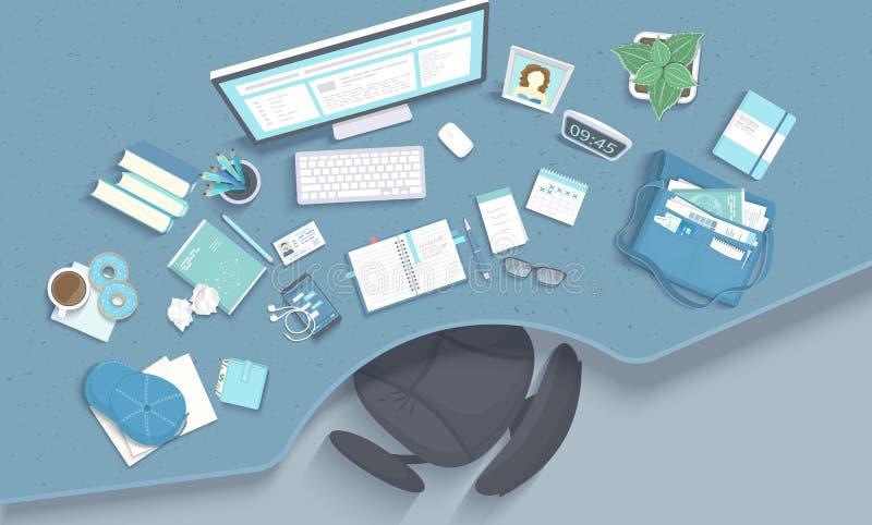 Таблица с гнездом, кресло, монитор, книги, тетрадь, наушники, телефон Место для работы современного и стильного рабочего места на иллюстрация штока