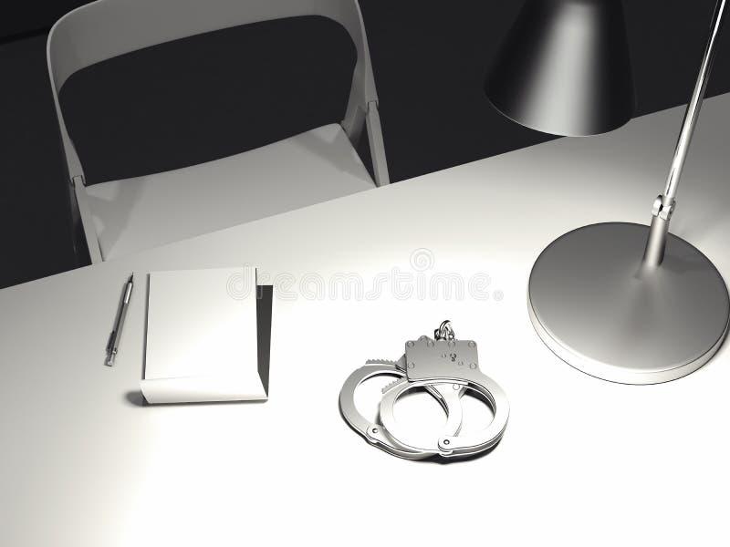 Таблица с переключать-на лампой, наручниками и бумажным листом, переводом 3d стоковое фото