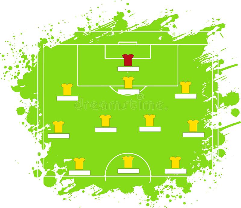 Таблица тактики футбола также вектор иллюстрации притяжки corel Тактическая схема 5 3 2 иллюстрация вектора