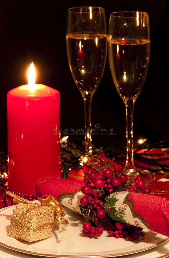таблица установки еды рождества стоковая фотография