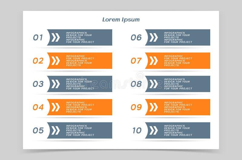 Таблица Infographic или дизайн знамени сети с пронумерованными шагами бесплатная иллюстрация