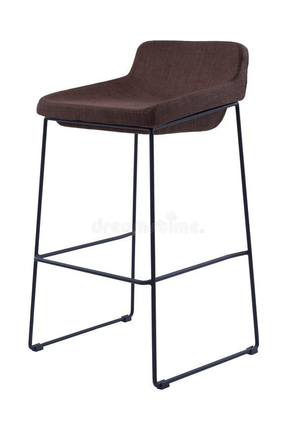 Табуретка высокой планки Брайна изолированная на белой предпосылке Современный высокорослый стул, вид спереди стоковые фото