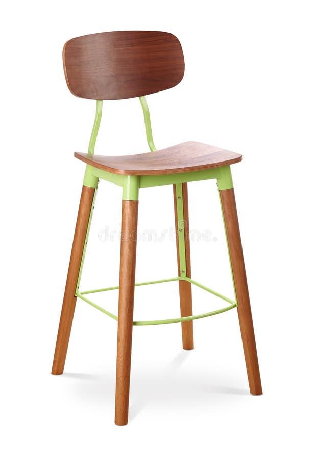 Табуретка высокой планки зеленого цвета, стул, древесина, пластмасса, стул металла, современный дизайнер Стул изолированный на бе стоковая фотография rf