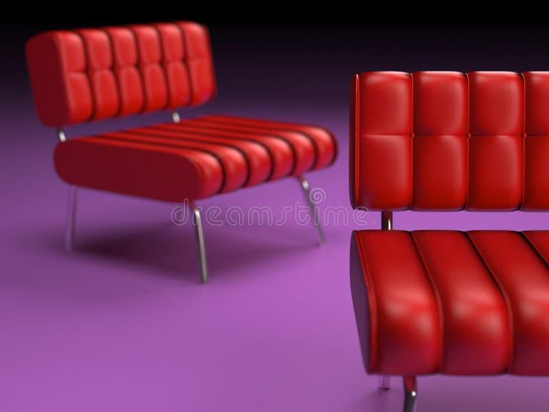 табуретки мебели самомоднейшие красные иллюстрация вектора