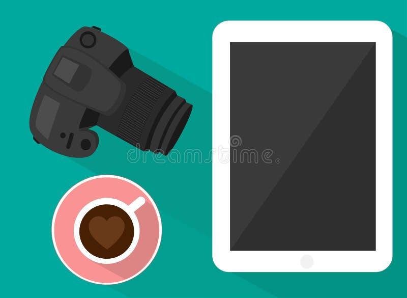 Таблетка и кофе камеры бесплатная иллюстрация
