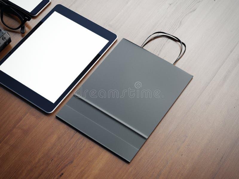 Таблетка и paperbag на деревянной предпосылке 3d стоковые фотографии rf