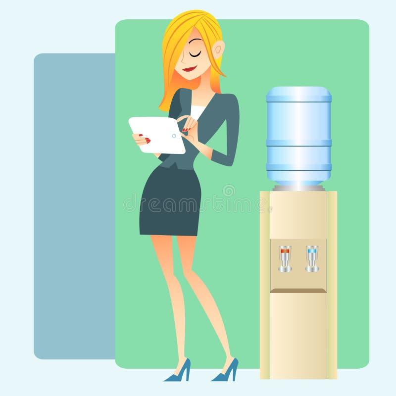 Таблетка компьютера водяного охлаждения офиса девушки иллюстрация вектора