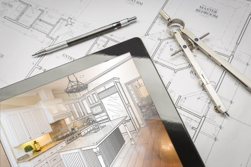 Таблетка компьютера показывая иллюстрацию на планах дома, ручку кухни стоковые изображения rf