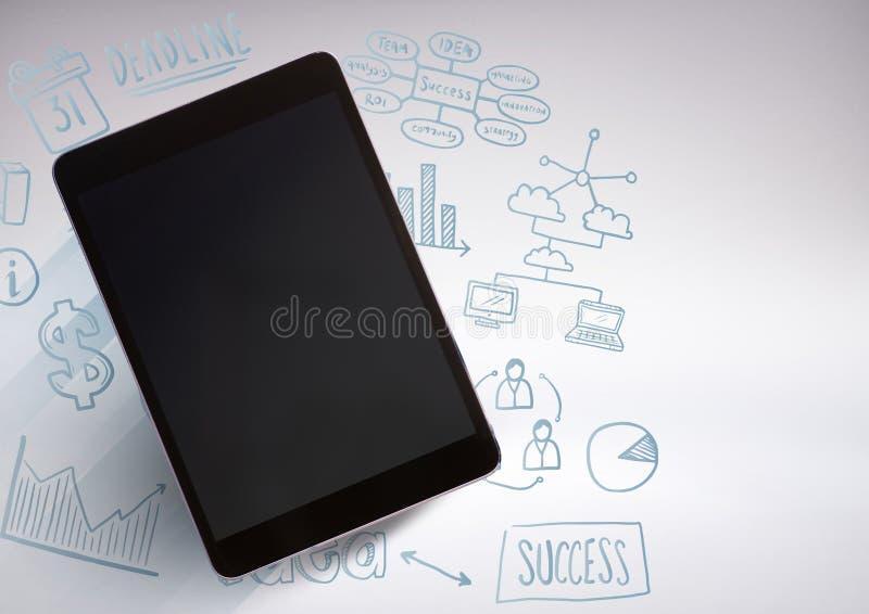 таблетка против серой предпосылки с чертежами иллюстрации дела графическими иллюстрация вектора