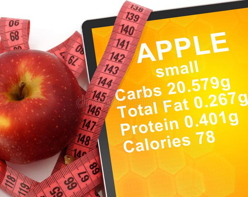 Таблетка с калориями в Яблоке и измеряя ленте стоковое изображение