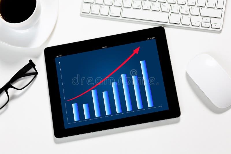 Таблетка с план-графиком на экране в офисе шины стоковое изображение