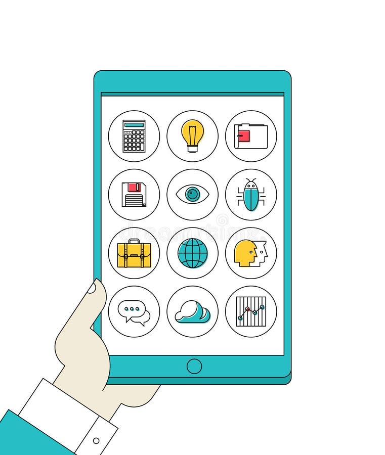 Таблетка цифров в руке с линией значками apps иллюстрация вектора