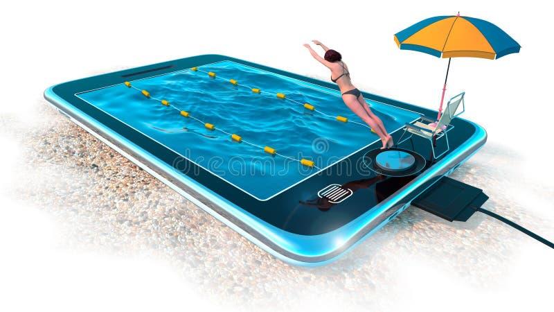 Таблетка цифров как водный бассейн как каникулы и концепция связи бесплатная иллюстрация