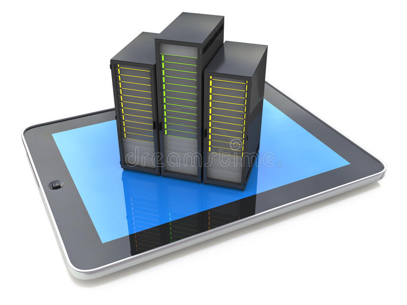 Таблетка цифров подключила с базой данных, большим хранением данных и clo бесплатная иллюстрация