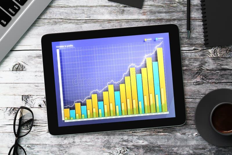 Таблетка цифров с диаграммой дела на деревянном столе стоковые изображения