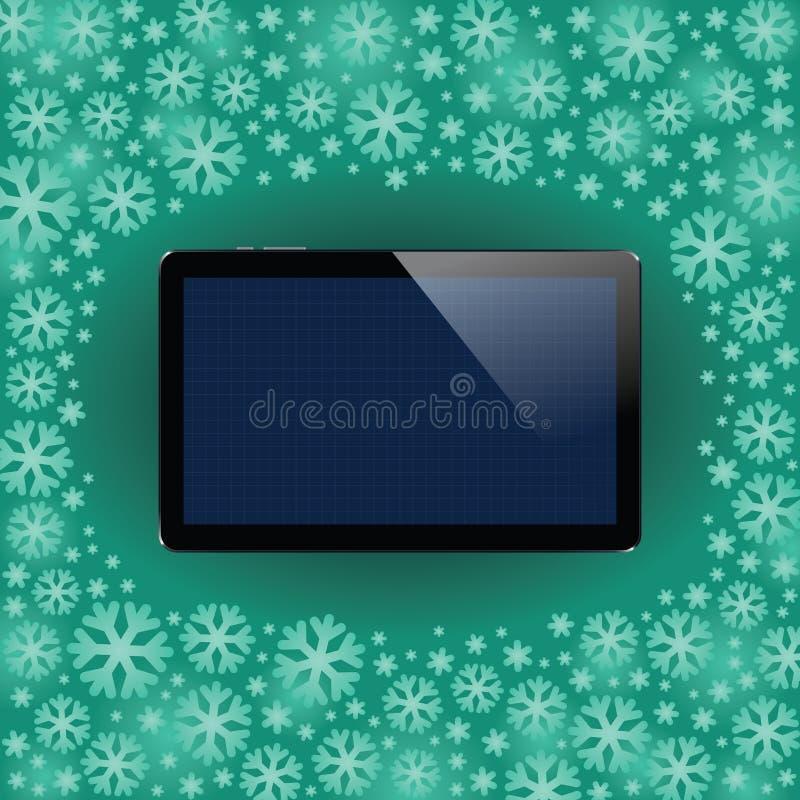 Таблетка цифров с сияющим экраном датчика Электронный умный прибор Передвижное устройство бесплатная иллюстрация