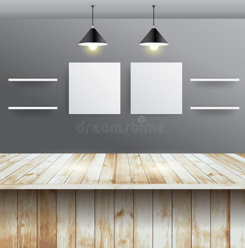 Таблица вектора деревянная с дизайном интерьера комнаты стены иллюстрация вектора