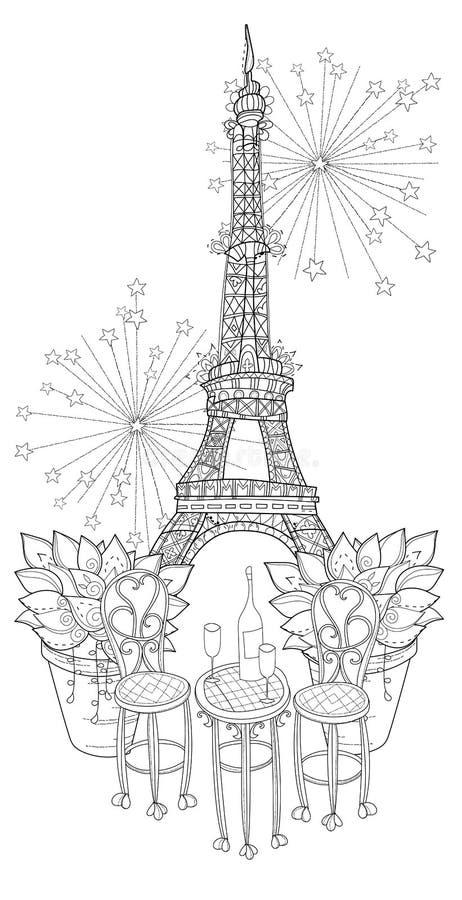 Таблица вина вектора милая в Париже бесплатная иллюстрация