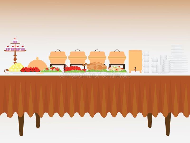 таблица еды рыб сыра шведского стола быстрая иллюстрация вектора