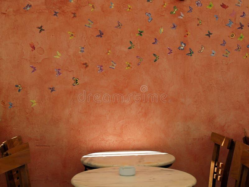 Таблица и стулья кафа стоковое изображение rf