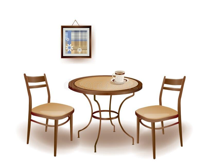 таблица и стулья иллюстрация вектора