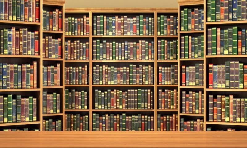 Таблица на предпосылке книжных полок вполне книг стоковое изображение