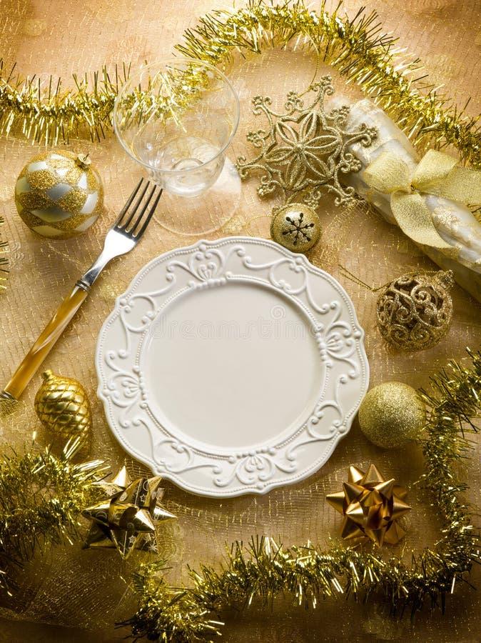 Таблица рождества золота стоковая фотография rf