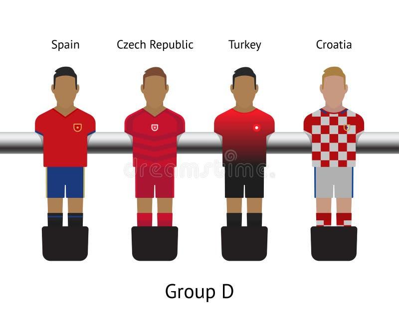 таблица футбольной игры комплект футболиста foosball Испания, чехия, Турция, Хорватия иллюстрация штока