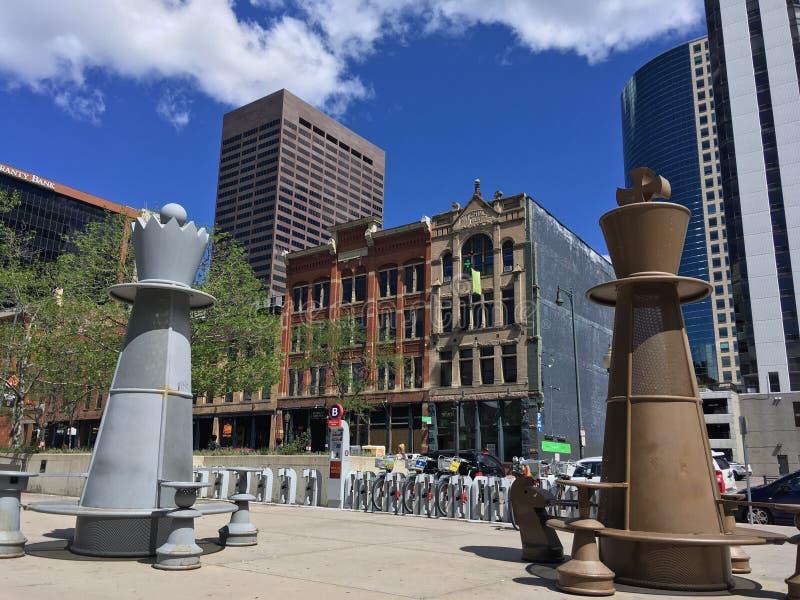 Таблицы шахмат в городском Денвере Колорадо стоковое изображение rf