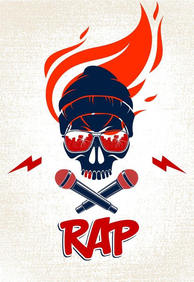 Тазобедренные логотип или ярлык вектора музыки хмеля со злым черепом и 2 микрофонами пересеченными как перекрещенные кости, парти иллюстрация штока