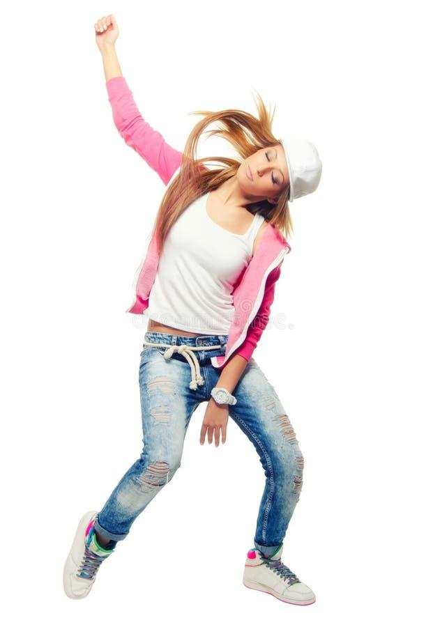 Тазобедренные танцы девушки танцора хмеля изолированные на белой предпосылке стоковое изображение rf