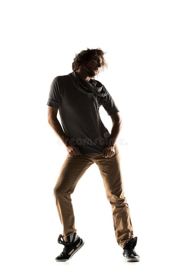 Тазобедренный выполнять танцора хмеля изолированный на белой предпосылке стоковая фотография rf