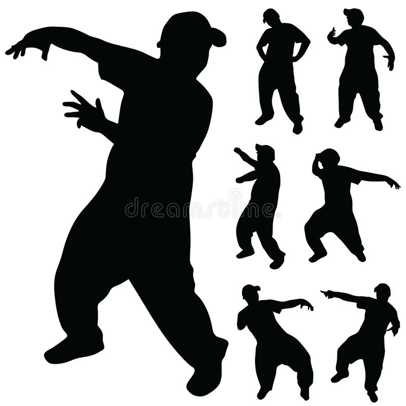 Тазобедренный силуэт искусства танцора хмеля иллюстрация штока