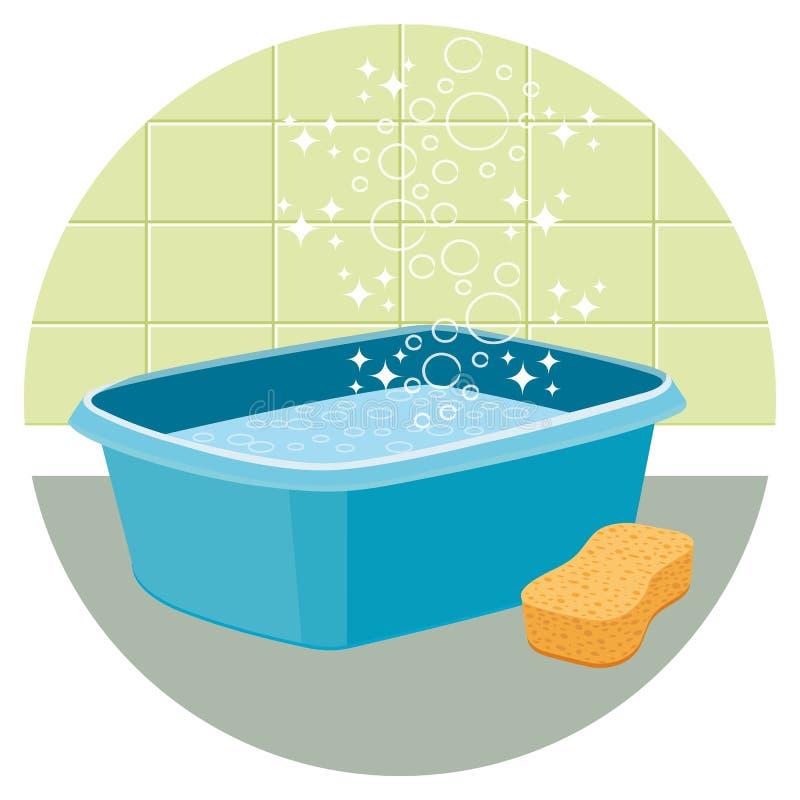 Таз заполненный с водой с губкой Значок чистки дома бесплатная иллюстрация