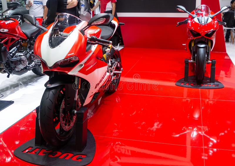 Таиланд - декабрь 2018: конец вверх по мотоциклу Ducati 959 Panigale Corse представил в экспо Nonthaburi Таиланде мотора стоковое фото