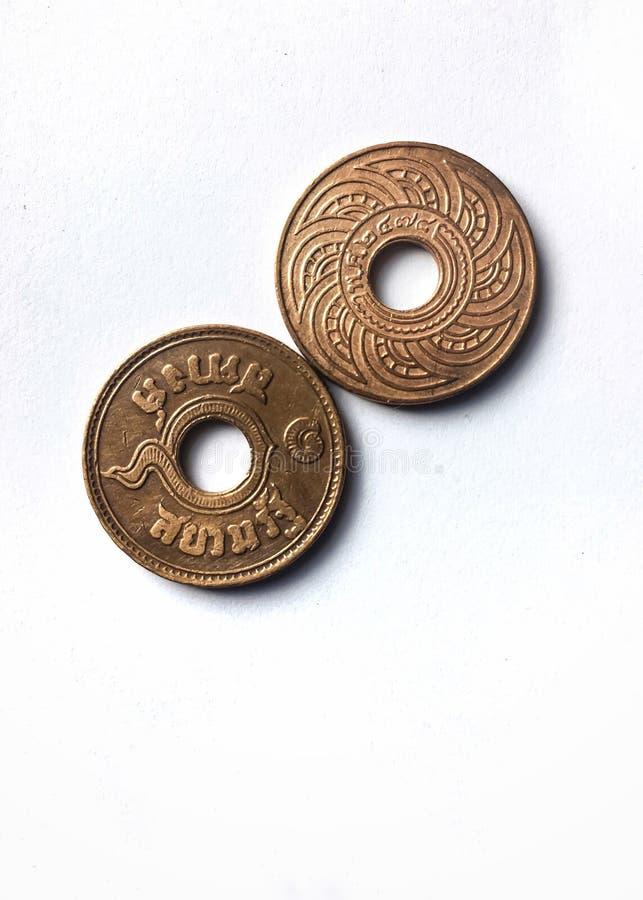Таиланд Satang ТАИЛАНД 1939 0 монетка тайской бронзы ванны 01 экзотическая винтажная стоковые изображения
